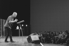 Dave Belfield presenting the Sunday message