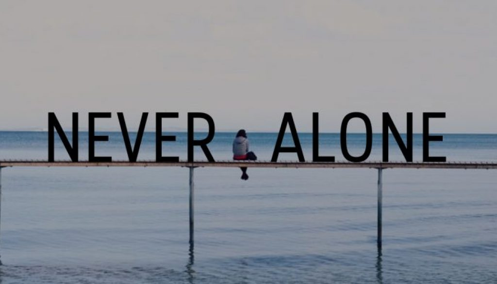 NEVER ALONE Talk Series Title Graphic